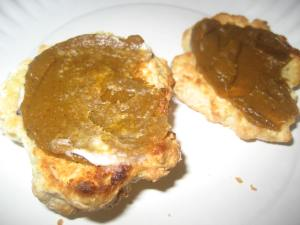Pumpkin Butter on homemade spelt biscuits