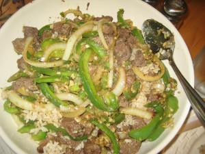 Beef stir fry with ginger and garlic. Mmmm.