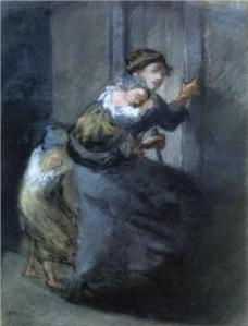 """Mother with Two Infants""  by Jean-Francois Millet, circa 1800's"