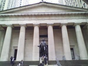 Federal Hall. Wall St. and Nassau St.