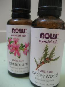 geranium and cedarwood - floral and earthy