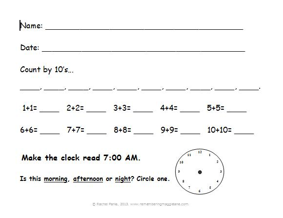 Free printable morning worksheets, Grades K-2 | Remembering Maggie ...