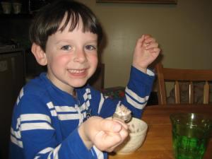 Enjoying his first bite of spelt granola EVER!