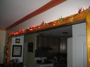 Our fall twinkle lights. Made with orange halloween lights with paper leaves twisty tied on.