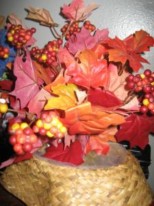 Pretty fall leaves in a basket.