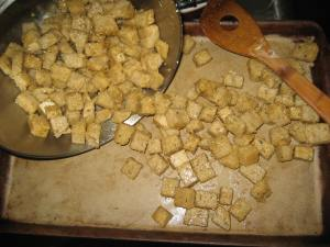 Sourdough croutons about to go in the oven!