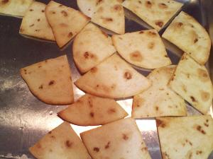 Homemade flour tortilla chips.