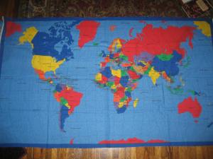 Fabric map panel for geography games.